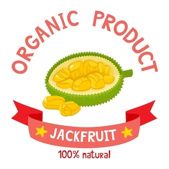 Distintivo di frutti biologici sani di jackfruit esotico fresco con nastro.