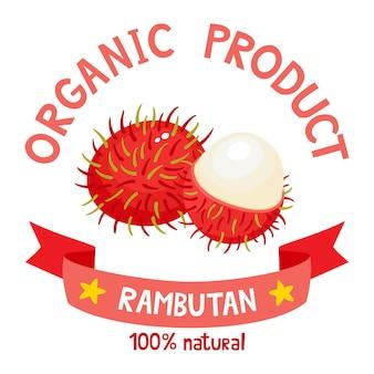 Distintivo di frutti biologici sani di rambutan esotico fresco con nastro.