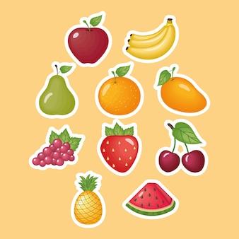 Collezione di adesivi di frutta biologica sana