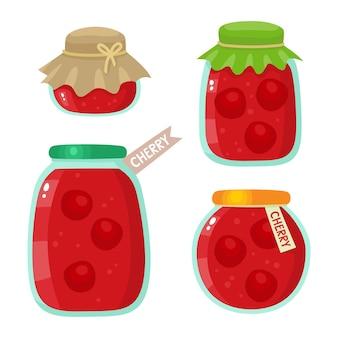 Marmellata organica sana di ciliegia fresca isolata su bianco