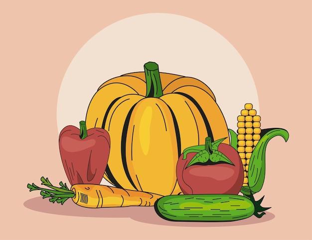 Set di icone di verdure sane e biologiche