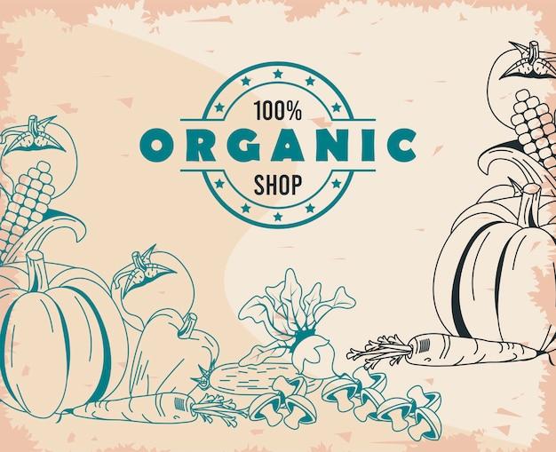Gruppo di simboli di verdure sane e biologiche