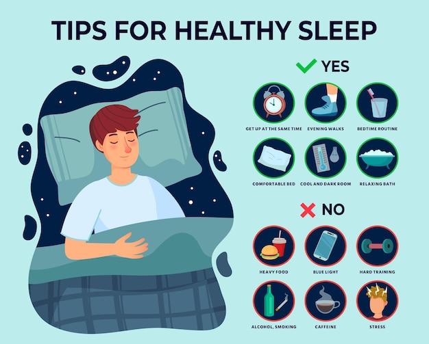 Infographics di suggerimenti per un sonno sano.