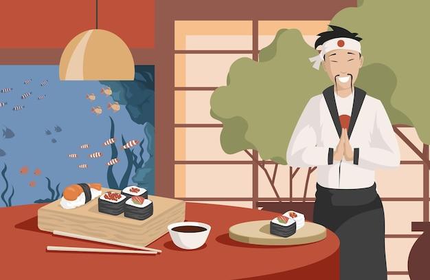 Illustrazione piana di vettore di cibo giapponese sano e gustoso chef giapponese