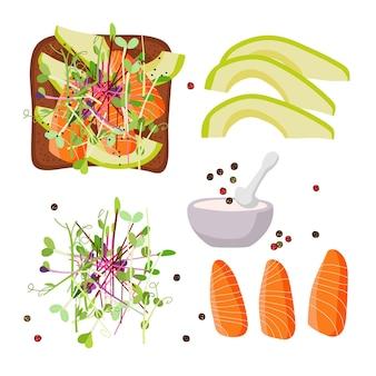Toast e ingredienti sani ricetta per uno spuntino utile con avocado salmone micro green