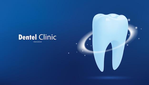 Dente sano con effetto luminoso su sfondo blu concetto di sbiancamento dei denti