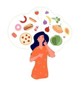 Cibo sano e malsano. donna che pensa in equilibrio di dieta di cibi spazzatura vs buoni.