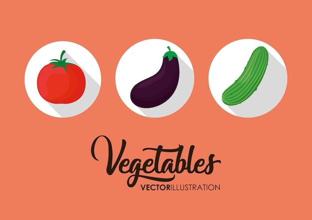 Icone di verdure sane su sfondo rosa