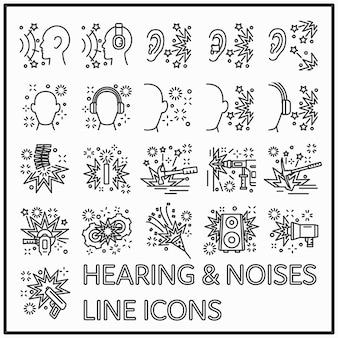 Disegno grafico dell'icona di linea dell'udito e dei rumori.