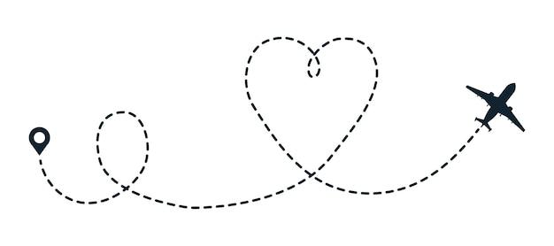 Percorso punteggiato dell'aeroplano del cuore. l'aereo da viaggio segue il percorso della linea del cuore. mappa di volo del percorso aereo del punto. traccia della compagnia aerea del piano di viaggio dell'illustrazione vettoriale come simboli di amore romantico