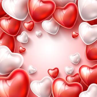 Modello realistico del nastro di seta del pallone del cuore per il giorno di biglietti di s. valentino o romantico