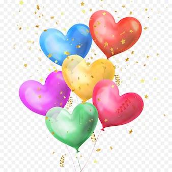 Mazzo di palloncini cuore e coriandoli di stelle glitter dorati isolati su sfondo trasparente per la festa di compleanno, il giorno di san valentino o il disegno della decorazione di nozze. fascio di palloncini colorati a cuore di elio