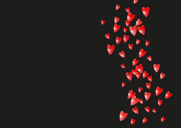 Sfondo bordo cuore con glitter rosa. san valentino. coriandoli di vettore. trama disegnata a mano. tema d'amore per voucher, banner aziendale speciale. matrimonio e modello nuziale con bordo cuore.