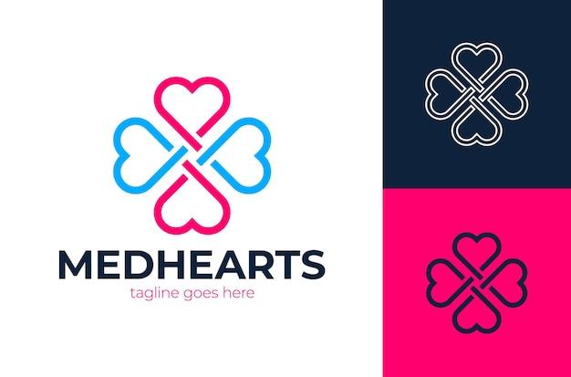 Logo di cura del cuore croce medica con illustrazione di contorno a forma di cuore per il logo