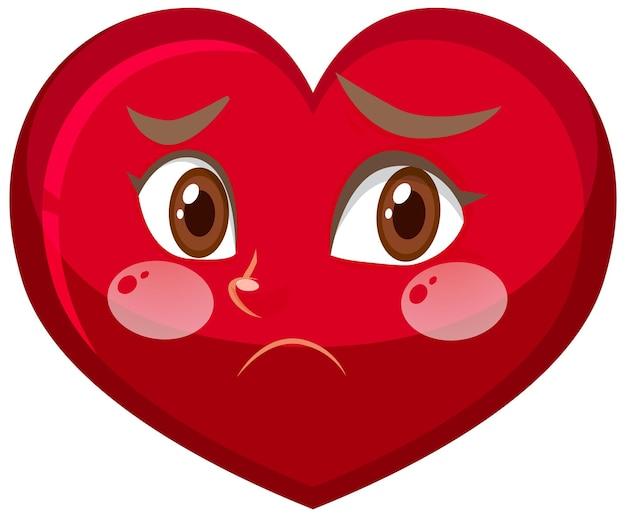Personaggio dei cartoni animati di cuore con espressione facciale