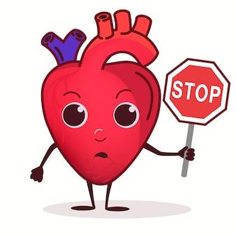 Carattere del cuore con segnale di divieto di stop, concetto di assistenza sanitaria, malattie cardiache, organo del cuore triste dei cartoni animati, divieto di fumo, arresto dell'alcol, fast food. uno stile di vita sano. vettore