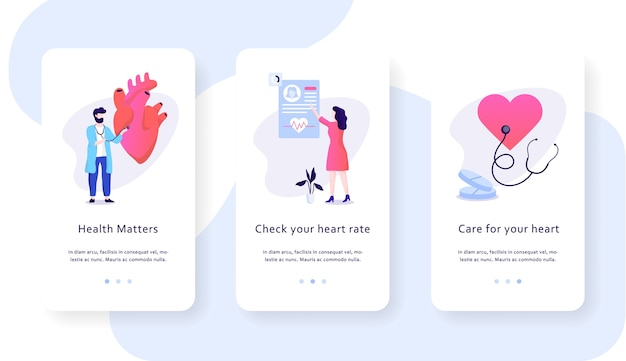 Concetto di banner web mobile checkup cuore. idea di assistenza sanitaria