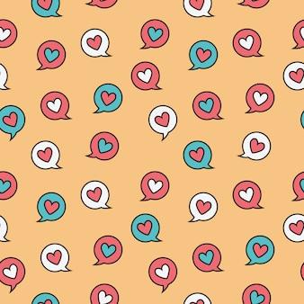 Messaggio di cuore cerchio doodle seamless pattern