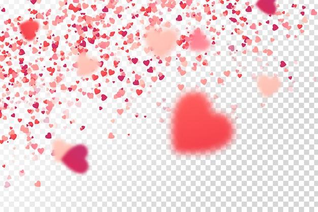 Coriandoli cuore su fondo bianco. concetto di buon compleanno, festa, evento romantico e vacanze.