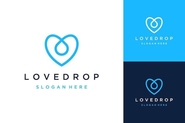 Logo del design del cuore con gocce d'acqua