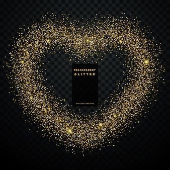Disegno del cuore realizzato con glitter dorati