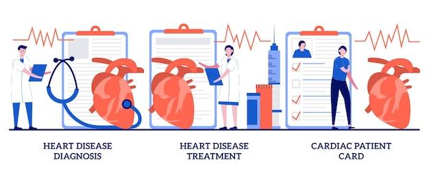 Diagnosi e trattamento delle malattie cardiache, concetto di carta del paziente cardiaco con persone minuscole. insieme di malattie cardiovascolari. frequenza cardiaca e dolore toracico, stress test, metafora ospedaliera.