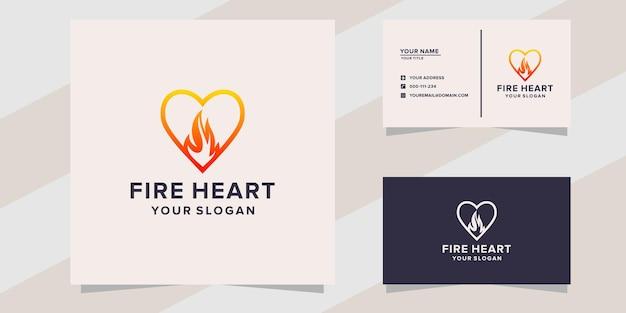 Modello di logo del fuoco del cuore