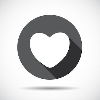 Icona piana del cuore con ombra lunga. illustrazione di vettore. eps10