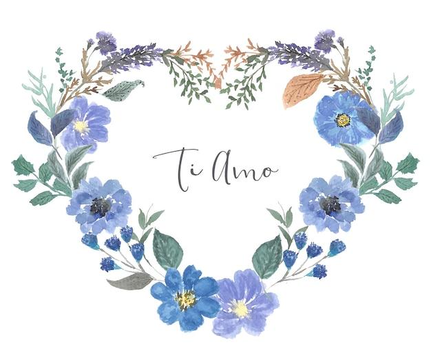 Cornice cuore di corona di fiori acquerello vintage