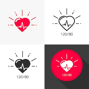 Vettore medico dell'icona di sanità del cuore con il fumetto piatto del pittogramma del battito cardiaco e della pressione sanguigna