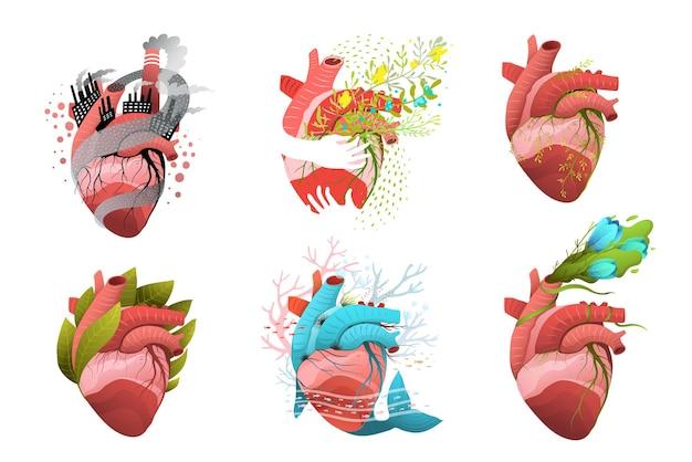 Concetto di salute, inquinamento e donazione del cuore