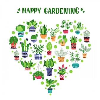Cuore di piante in vaso o fiori e lettere