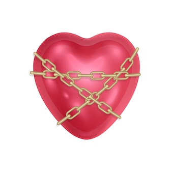 Il cuore è avvolto con una catena e un cuore rosso chiuso