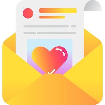 Vettore dell'icona della carta regalo di amore della carta da lettere del cuore