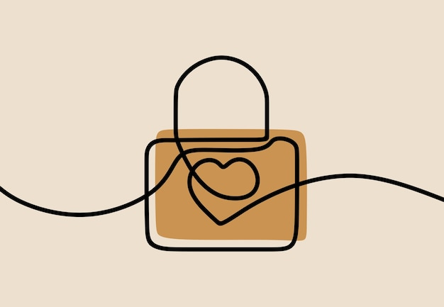 Arte della linea continua di una linea di blocco del cuore