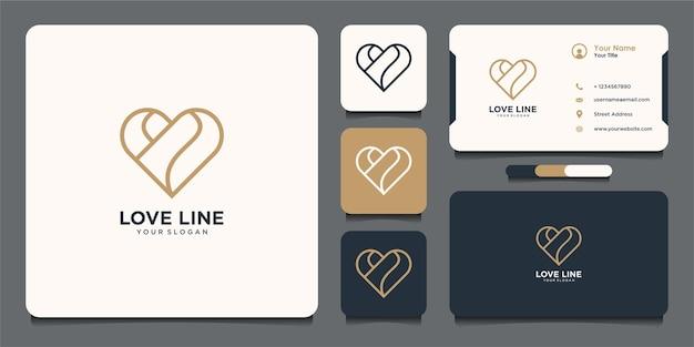 Design del logo del cuore con uno stile di linea semplice e biglietto da visita