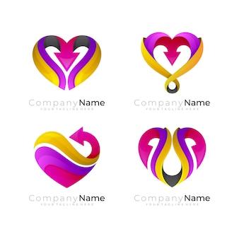 Logo del cuore con modello di design a freccia, logo sociale, icone di beneficenzast