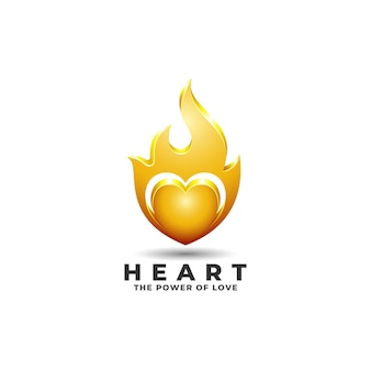 Logo del cuore con power of love concept