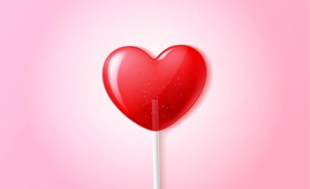 Illustrazione 3d della caramella del lecca-lecca del cuore