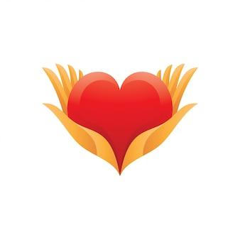 Logo della mano di amore e cura del cuore