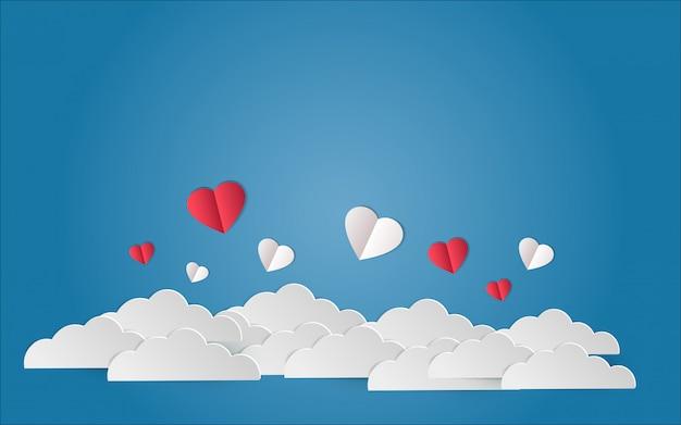 Illustrazione di amore del cuore che vola sul cielo