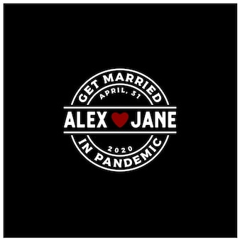 Cuore amore etichetta timbro per sposarsi impegnarsi matrimonio durante virus pandemic logo design