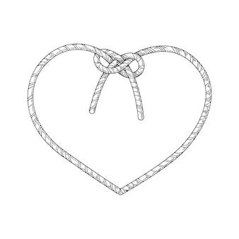 Cuore di corda con un nodo isolato su bianco