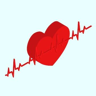 Cuore vista isometrica medica cardiologia concetto di assistenza sanitaria forma rossa e battito cardiaco. illustrazione vettoriale