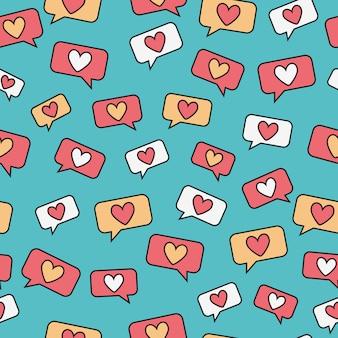 Messaggio di cuore doodle seamless pattern
