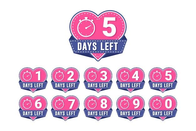 Conto alla rovescia del timer per il numero di giorni rimasti del cuore