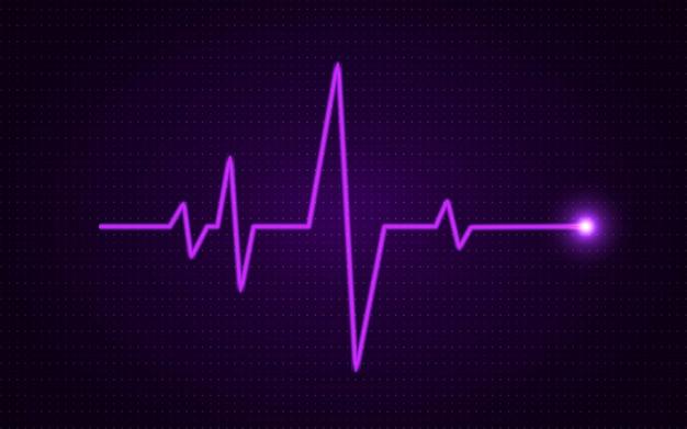 Concetto di battito cardiaco. linea medica incandescente.