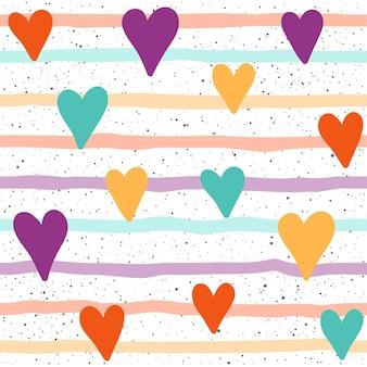 Fondo senza cuciture del cuore. cuore e linea infantili isolati su copertina bianca. motivo per biglietti, t-shirt, design di borse, album, album di ritagli, carta da regalo, tessuto, indumento, carta da parati, ecc.
