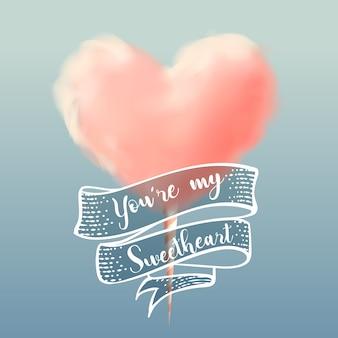 Zucchero filato di forma del cuore con l'illustrazione di vettore di calligrafia