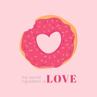 Illustrazione disegnata a mano di dessert a forma di cuore